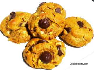 Wheat/Dairy-free Peanut Butter & Chocolate Chip Cookies.