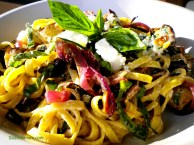 Pasta with Roast Eggplant, Red Onion, Pine Nuts, Basil & Goat Cheese