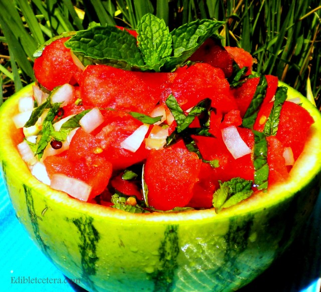 Watermelon, Mint & Onion Salad