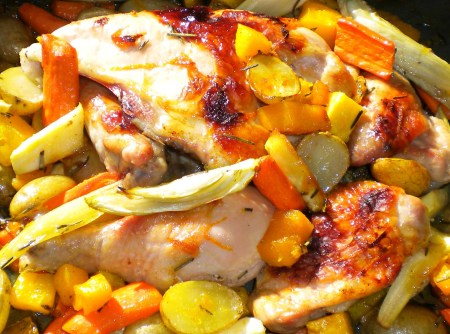 Chicken Roasted with Root Veg, Rosemary & Honey.