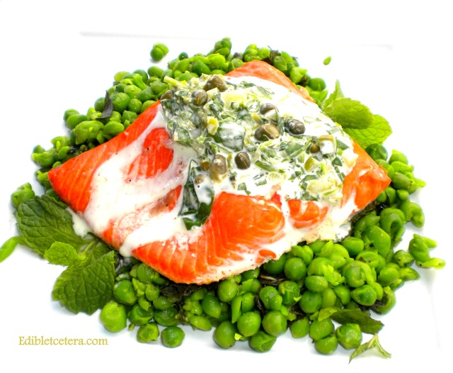 Oven Roasted Salmon with Minted Peas , Watercress, Capers & Lime