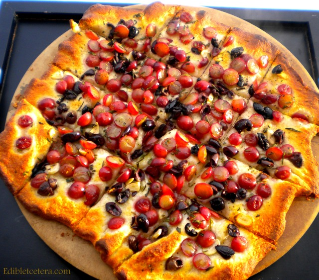 Grape & Olive 'Pizza' with Garlic & Rosemary