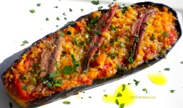 Baked Eggplant with Smoked Cheese, Tomato & Anchovies