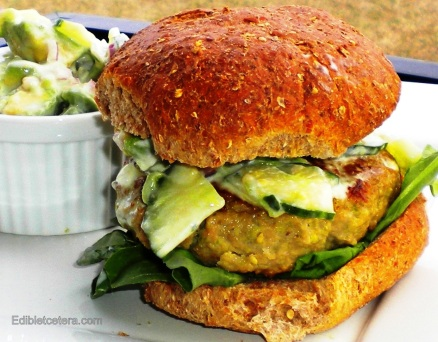 Chicken Edemame Burger with an Avocado Cucumber Relish