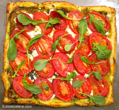 Roasted Tomato, Goat Cheese & Pesto Tart.