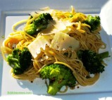 Spaghetti with Broccoli, Anchovies, Garlic & Chili.