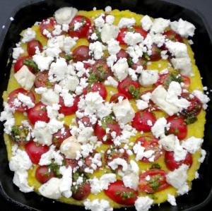 BLOG, polenta with gorgonzola, tomatoes and pesto 005