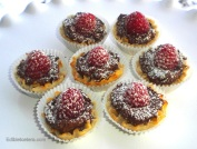 Chocolate Ganache & Raspberry Filo Cups.