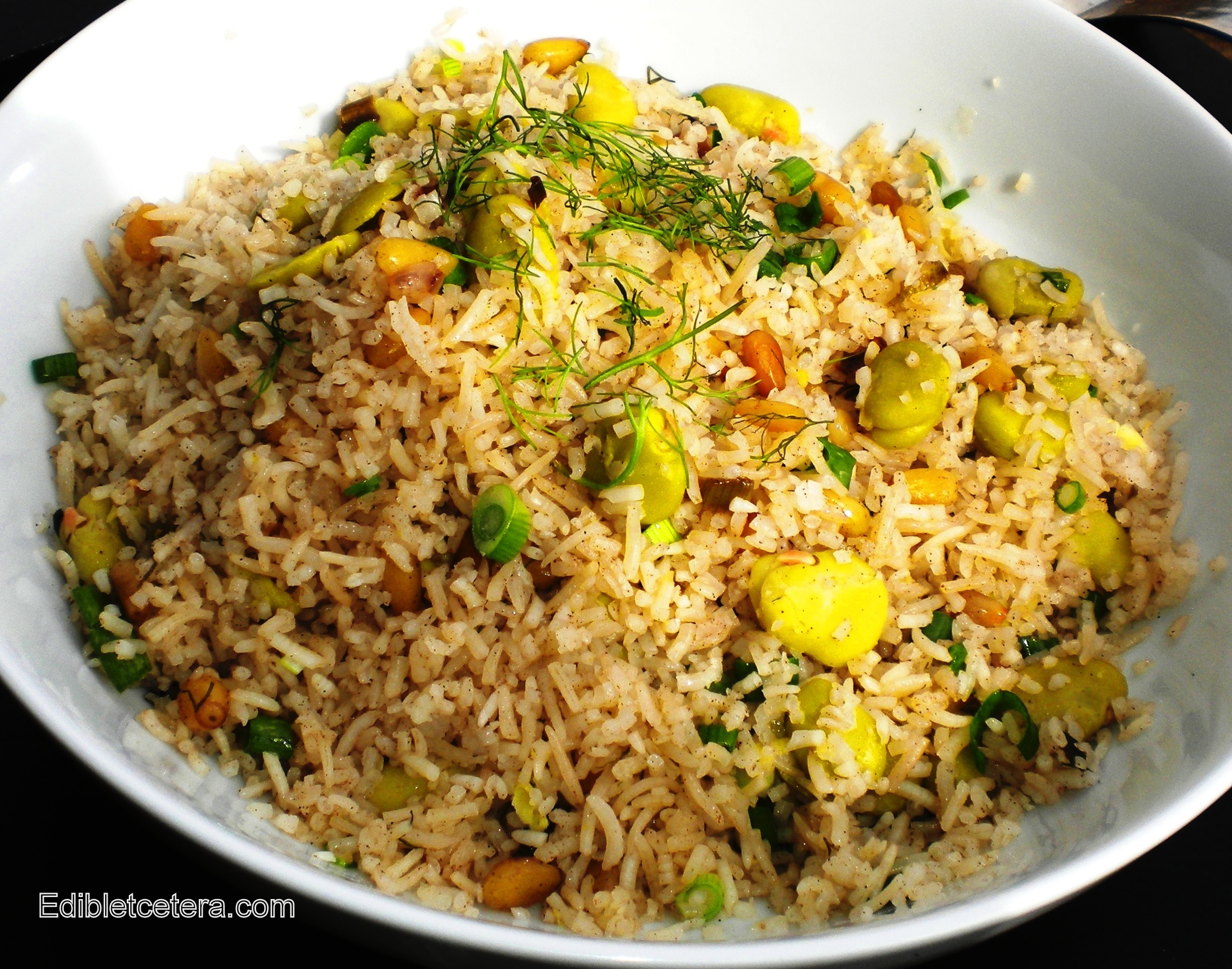Recipe: Fava (Broad) Bean Pulao with Pine Nuts & Dill | Edibletcetera ...