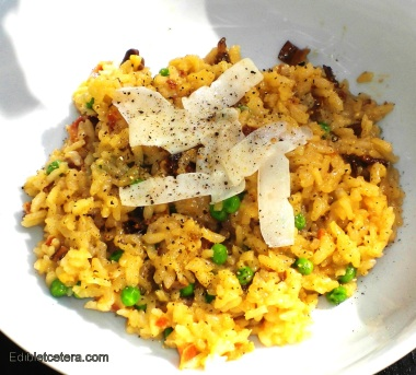 Oven-Baked Risotto with Wild Mushrooms, Prosciutto & Peas.