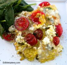 Baked Polenta with Gorgonzola and Cherry Tomatoes.