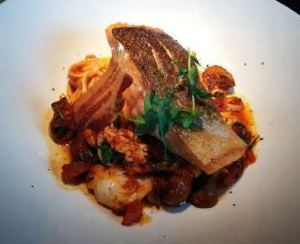 Crabmill, salmon entre with langoustine pasta