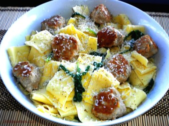 Pappardelle with a Lemon Cream Sauce & Turkey Meatballs.