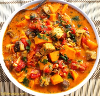 Spicy Pork, Sweet Potato & Mushroom Stew