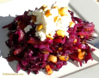 Warm Winter Salad of Red Cabbage, Hazelnuts & Goat Cheese