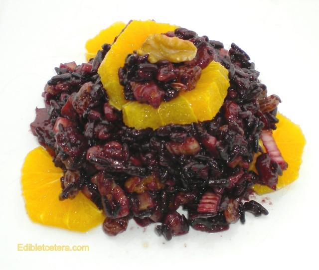 Black Rice & Walnut Salad with an Orange Balsamic dressing