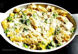 Baked Pasta with Chicken & Broccoli - assembled for baking