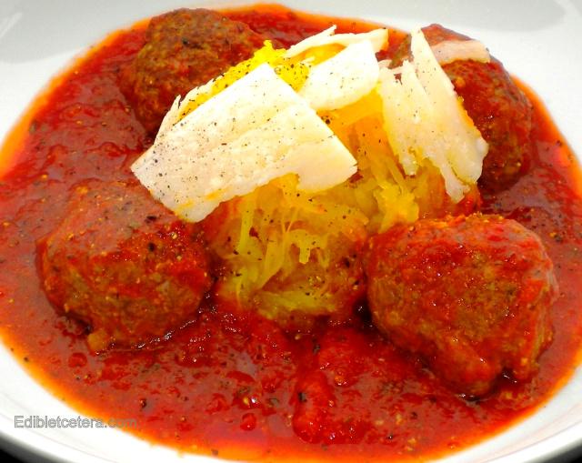 Meatballs with Porcini & Spaghetti Squash