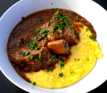 Beef Short Ribs Braised in Red Wine with Porcini served over Soft Polenta