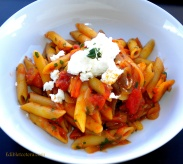 Pasta with Roasted Sweet Peppers & Goat Cheese