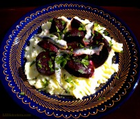 Roasted Beets with Almond Skordalia & White Anchovies