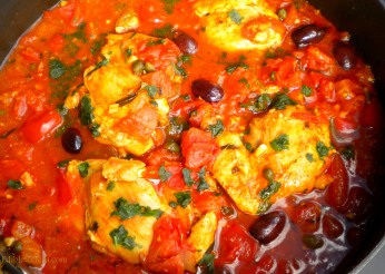 Chicken Braised in White Wine with Tomatoes, Olives & Capers