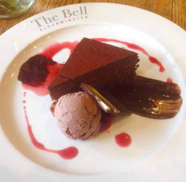 Flourless Chocolate Cake at The Bell, Alderminster