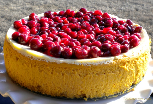 Pumpkin & Grand Marnier Cheesecake with Glazed Cranberries