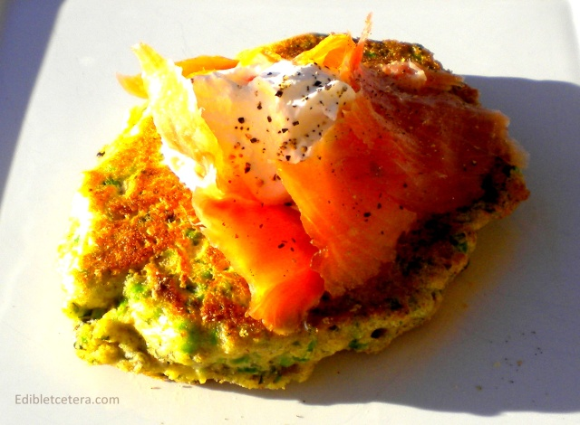 Minted Green Pea Hotcakes with Smoked Salmon