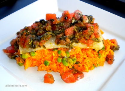 Pesto Baked Fish with Sweet Potato Mash