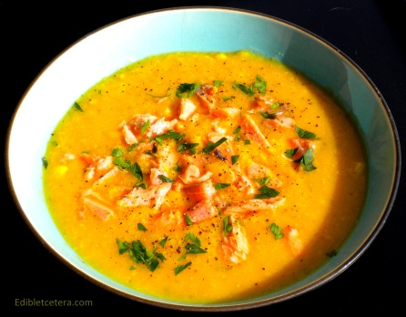 Butternut Squash Chowder with Smoked Fish, White Beans & Corn