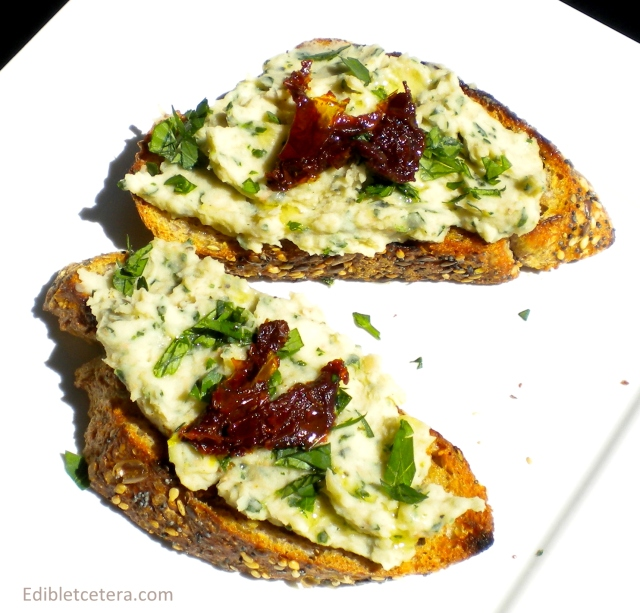 White Bean, Garlic Lemon & Fresh Herb Bruschetta