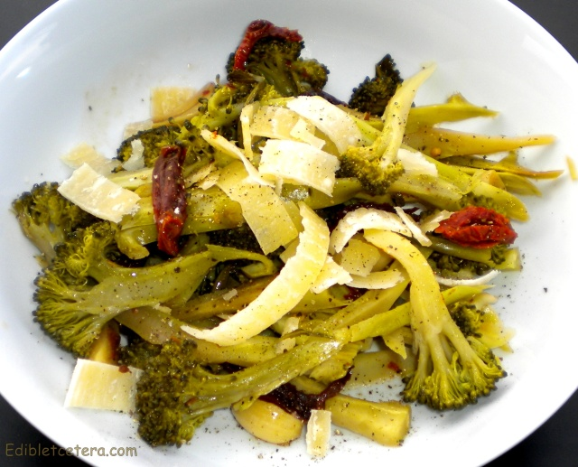 Broccoli Braised in White wine with Garlic, Chili & Sundried Tomatoes