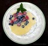 Frozen Berries with a Warm White Chocolate Sauce