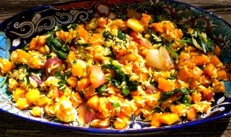 Roasted Butternut Squash with Apples, Onion, Spinach and Orzo