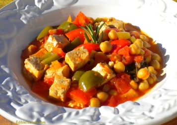 Chickpea and Smoked Tofu Stew with Sweet Peppers and Tomatoes