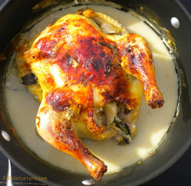 Chicken roasted with milk and aromatics