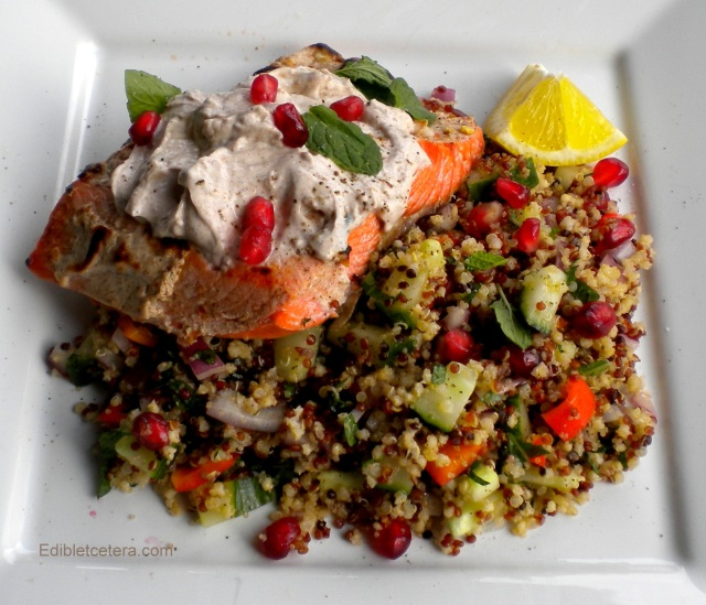 Grilled salmon with spiced yogurt and a pomegranate, mint and cucumber salad
