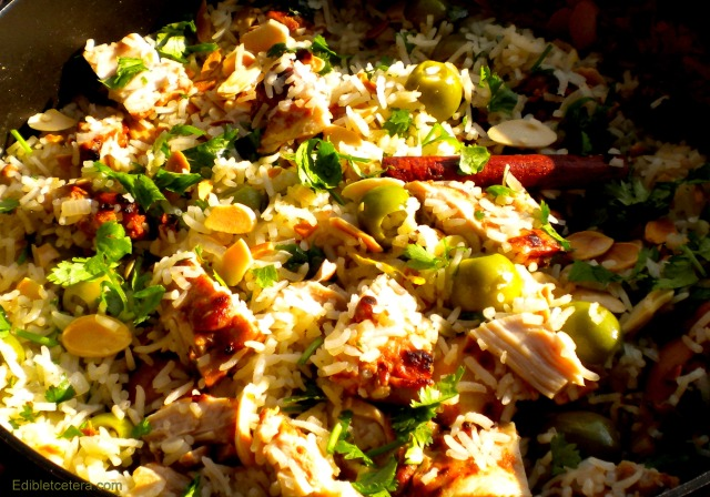 Chicken Pilaf with Green Olives, Lemon & Almonds
