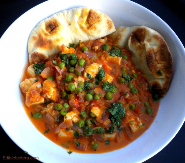 Mattar Paneer (Indian Cheese with Peas, Tomatoes, Onion, Ginger, Garlic & Spices)