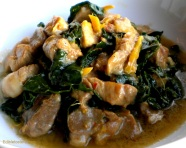 Pork Braised in Coconut Milk with Ginger, Chili, Fish Sauce & Kale