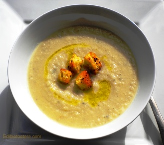 Cauliflower & Stilton Soup with Chili Croutons
