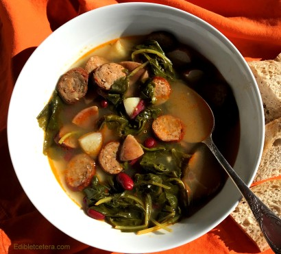 A Winter Soup with Andouille Sausage, Kale, Potatoes & Beans