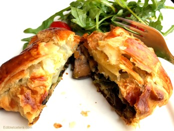 Mushroom, Chestnut, Spinach & Goat Cheese Puff Pastry Parcels
