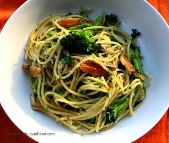 Spaghetti with Broccoli, Smoked Trout & Lemon
