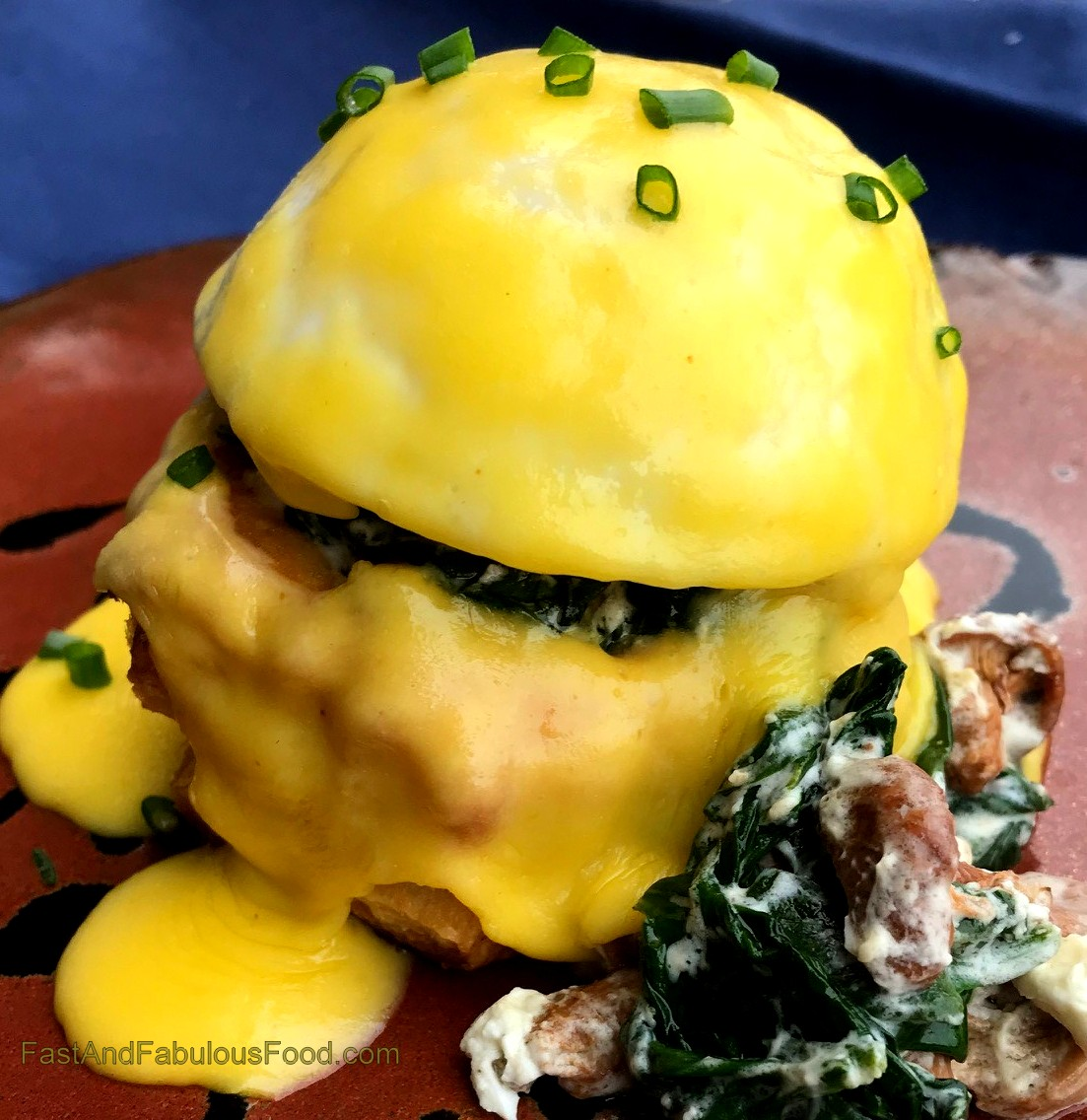 poached egg vol au vents with wild mushrooms, spinach & goat cheese
