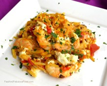 Baked Orzo with Shrimp, Saffron, Lemon & Tomatoes