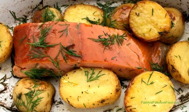 Hot Smoked Salmon Roasted with Baby Potatoes & Dill