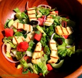 Greek Salad with Watermelon & Grilled Halloumi Cheese